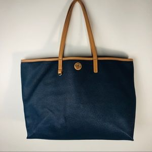 Tory Burch Bag Big Tote Blue Tan w imperfection